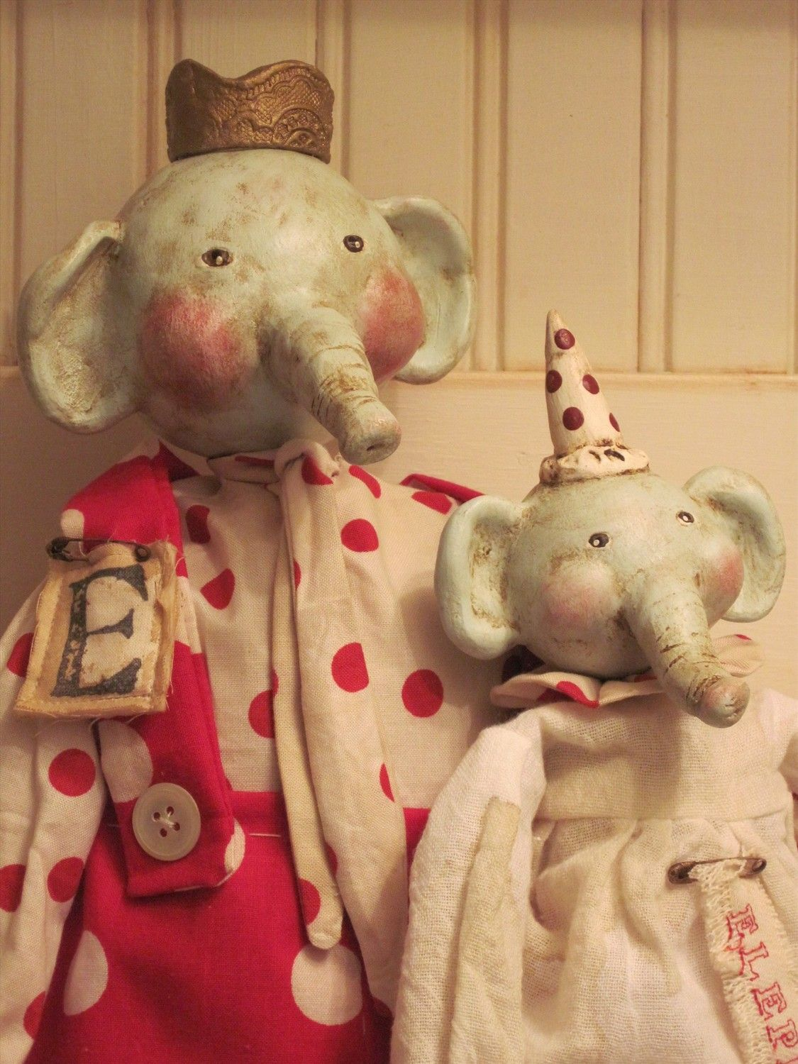 Set of Two Primitive Elephant Dolls with PaperClay Heads | Art Doll ...