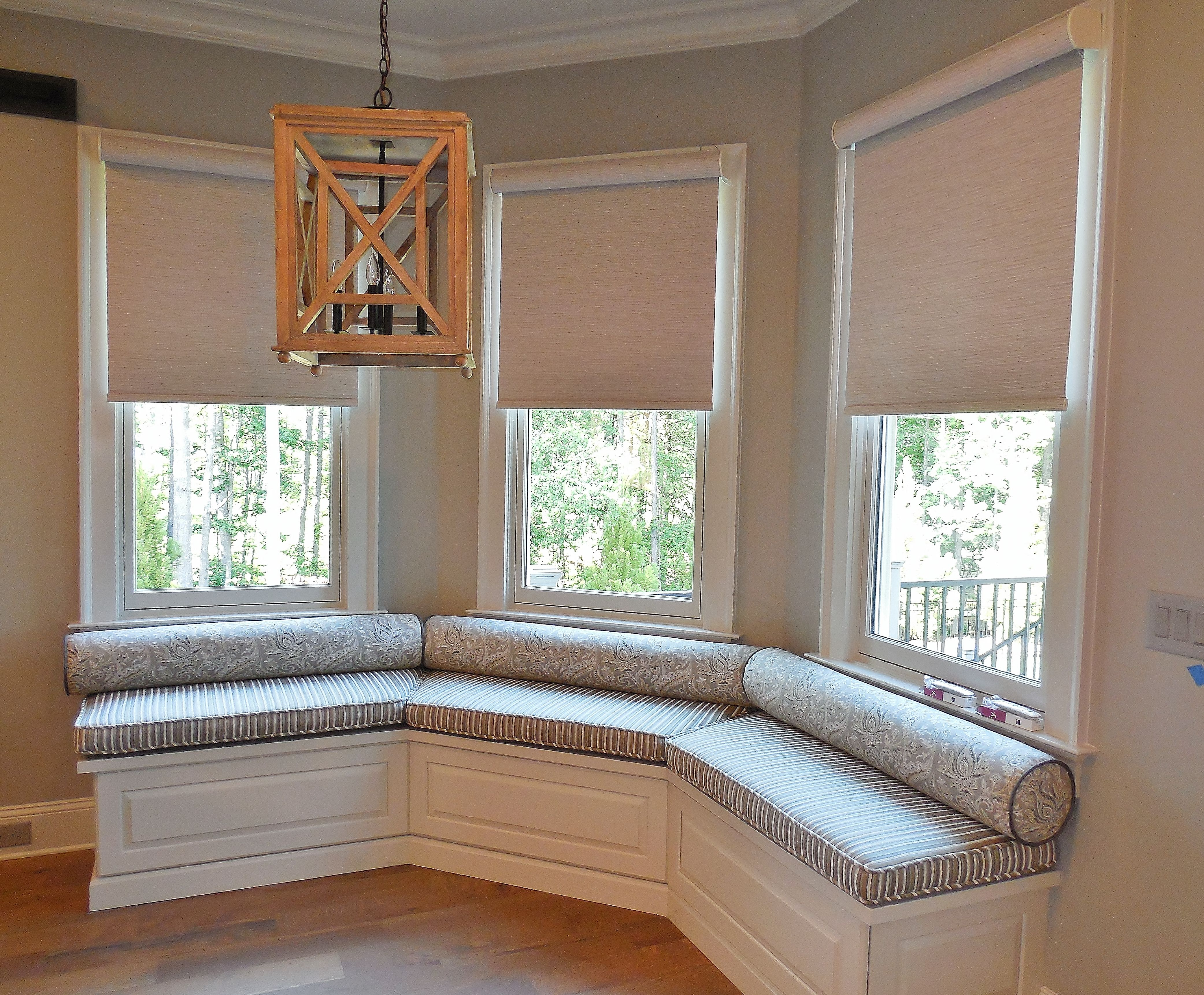 Motorized Blackout Roller Shades In A Bay Window We Also Created