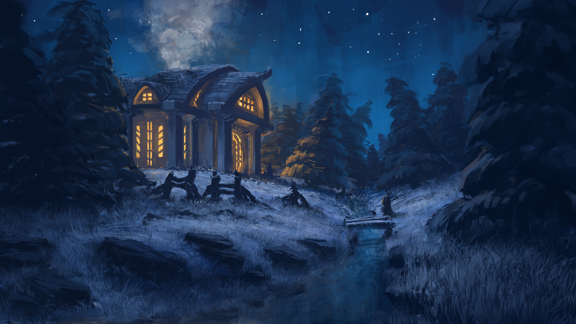Winter Night By Tomprante On Deviantart Forest Art Night Art Night Painting