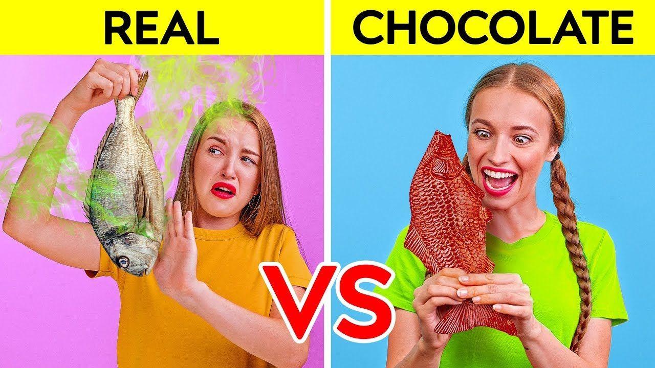 Real Food Vs Chocolate Food Challenge Funny Prank Wars By 123 Go Cha Challenges Funny Funny Pranks Real Food Recipes