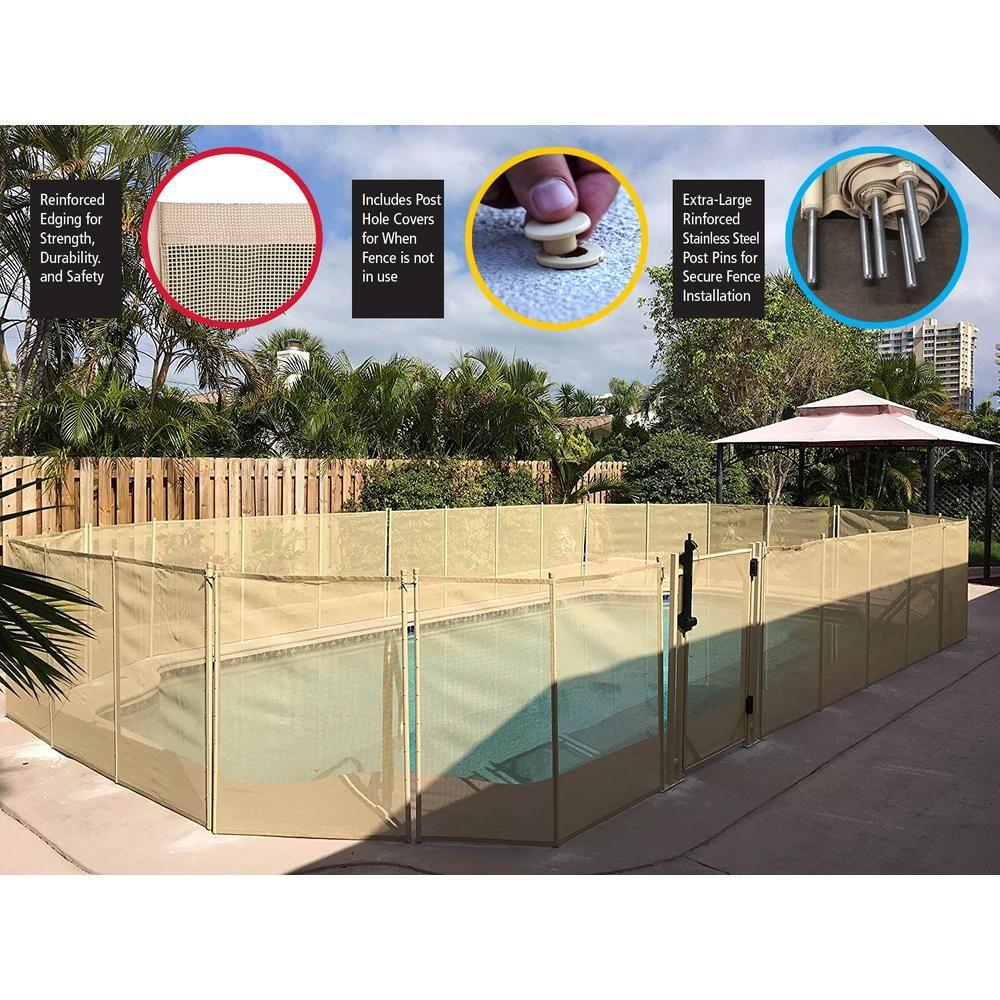 Waterwarden 4 Ft H X 12 Ft W Beige In Ground Pool Safety Fence Wwf200b In Ground Pools Pool Fence Fence