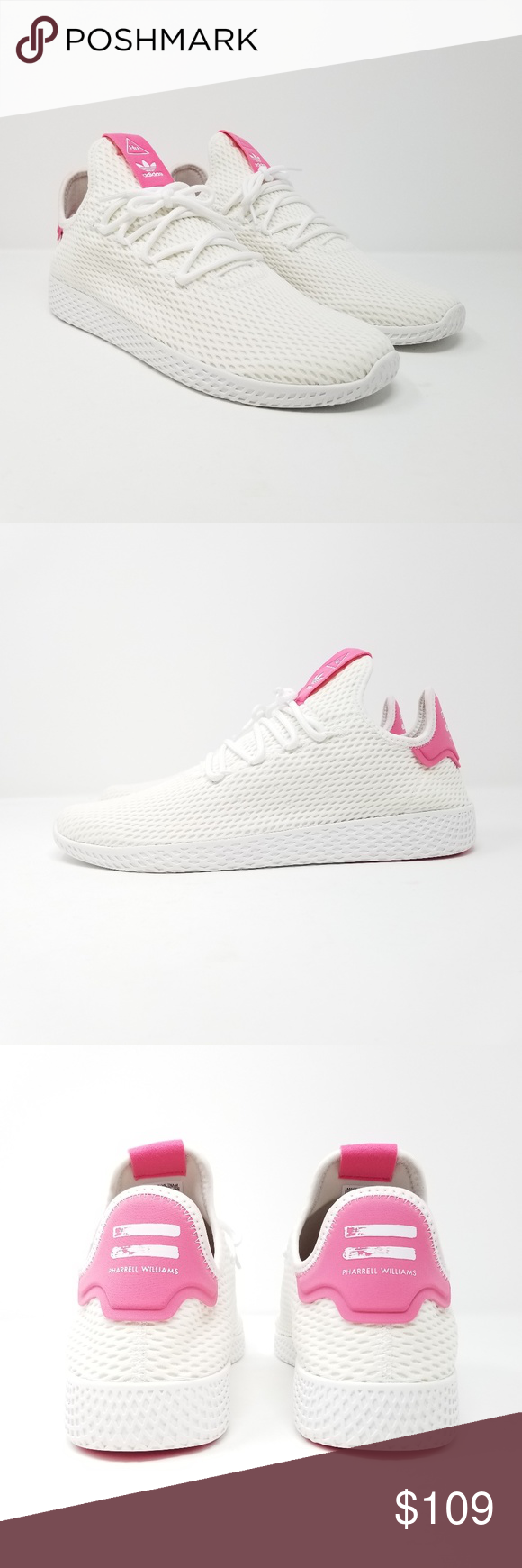 f8ca9b802cc7a Adidas Men s Pharrell Williams PW Tennis HU Shoes Adidas Men s Pharrell  Williams PW Tennis HU Shoes Style Number  BY8714 Color  White Pink Brand  New With ...