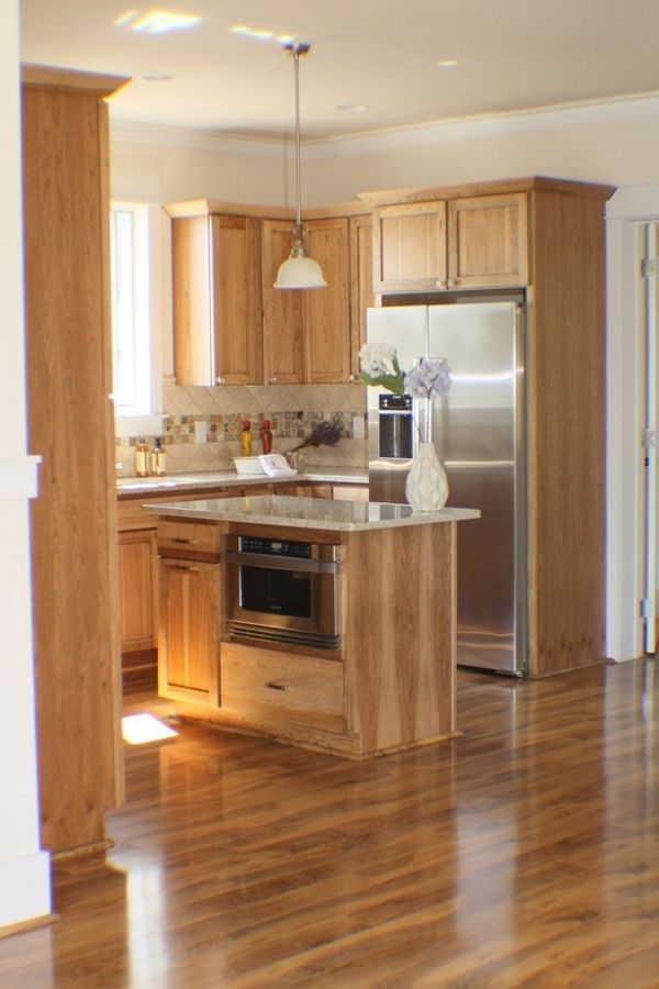 Natural hickory kitchen cabinets modern kitchen design for Wood floors in kitchen