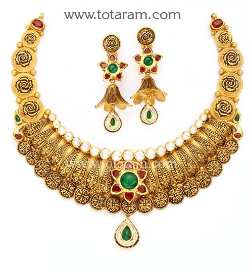 22K Gold Antique Necklace & Drop Earrings Set with Stones