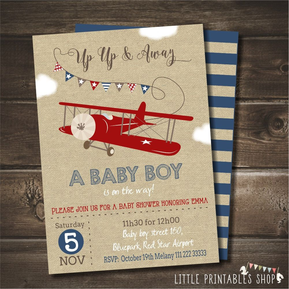Airplane Baby Shower Invitation with FREE Blue Striped Back, Vintage ...