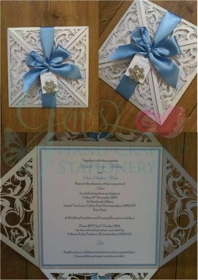 Ice blue laser cut wedding invitation with diamanté snowflake ...