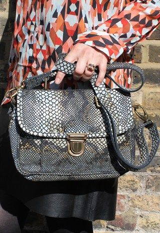 Snake+Print+Funky+Leather+Bag