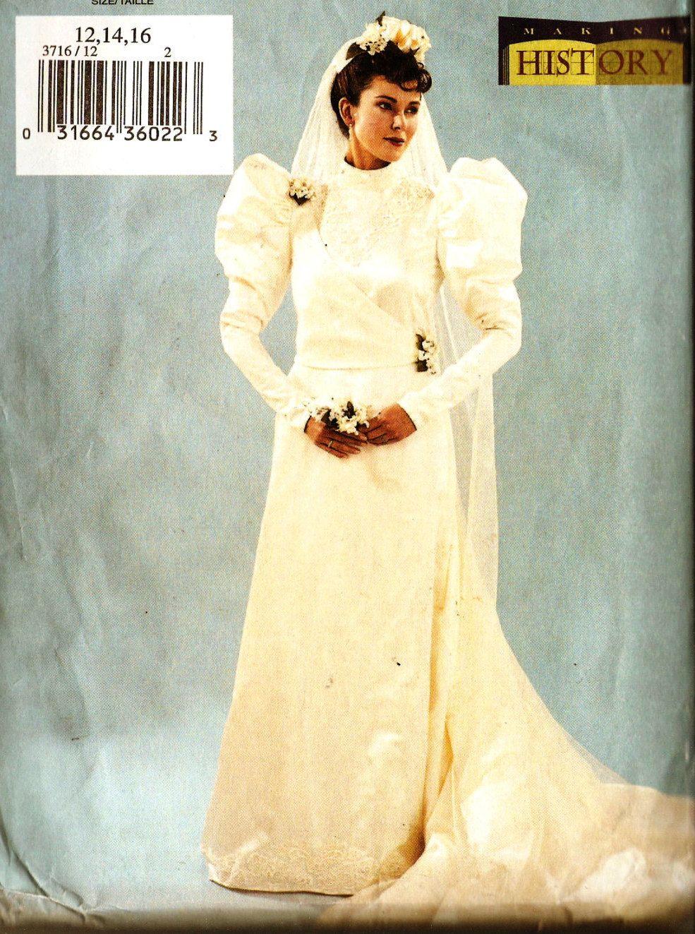 Butterick 3716 Misses\' Historical Victorian Era Bride Costume Dress ...