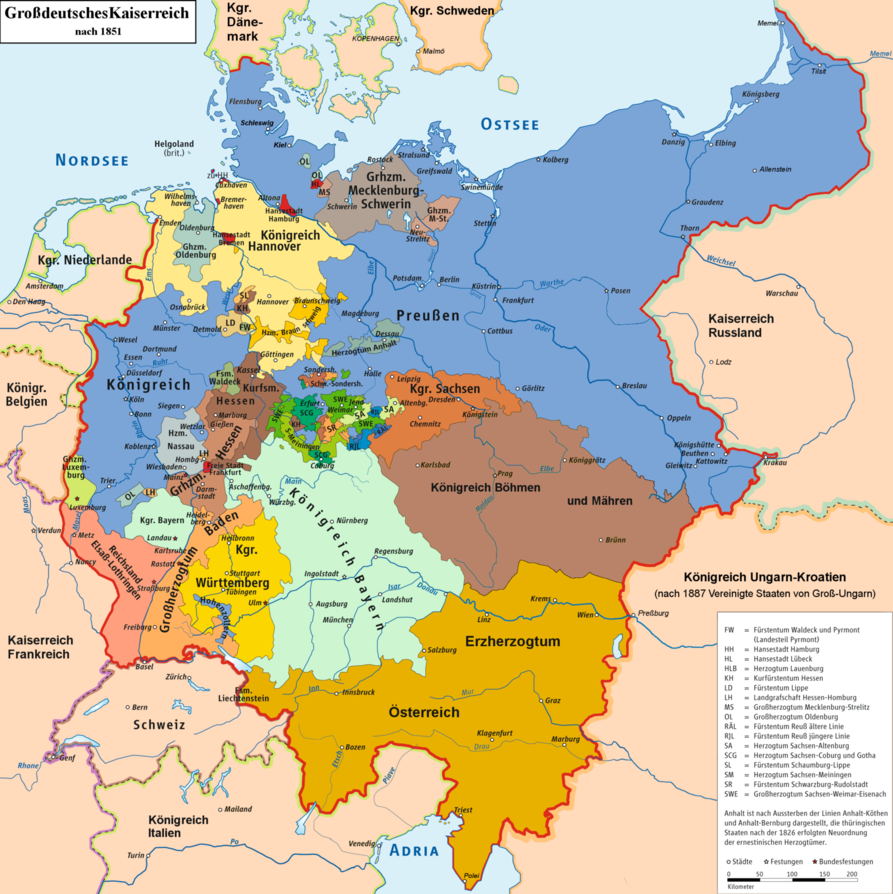 Map Of A Greater Germany Unified In 1848 Inspired By A Timline Over At The German Althistory Wiki Where The F Germany Map History Of Germany Holy Roman Empire