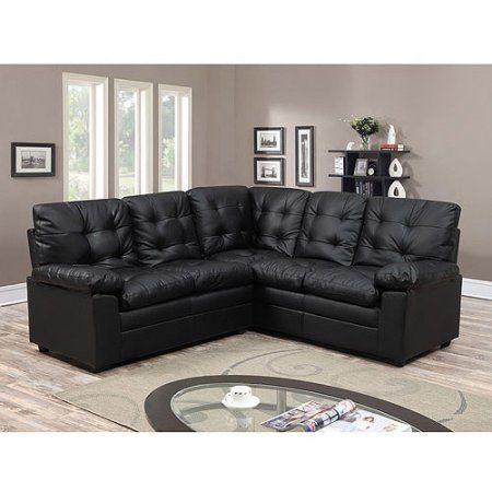 Buchannan Faux Leather Corner Sectional Sofa Black Corner