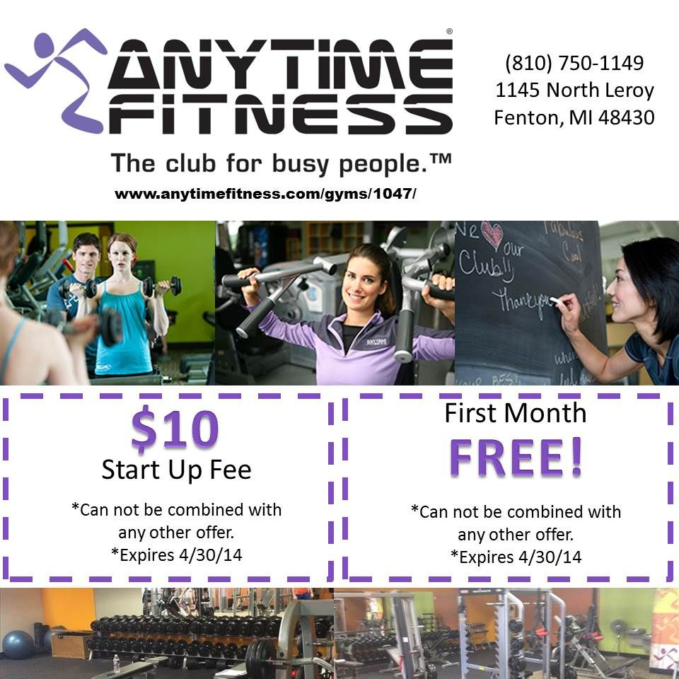 April 2014 Promotion For Anytime Fitness In Fenton Anytime Fitness Of Fenton Mi Is The Fitness Center That Fits Your Anytime Fitness Fitness Photos Fitness