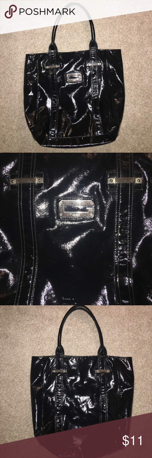 GUESS Large Black Tote Bag Good Condition. Minor Marks (see photo) 20
