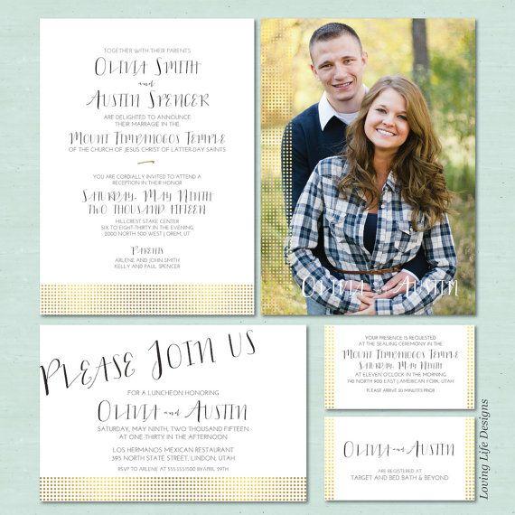 lds wedding invitation set gold foil dots lds wedding invite mormon wedding