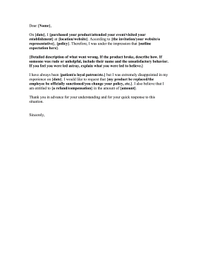 This Fillable Complaint Letter Provides Sample Information That