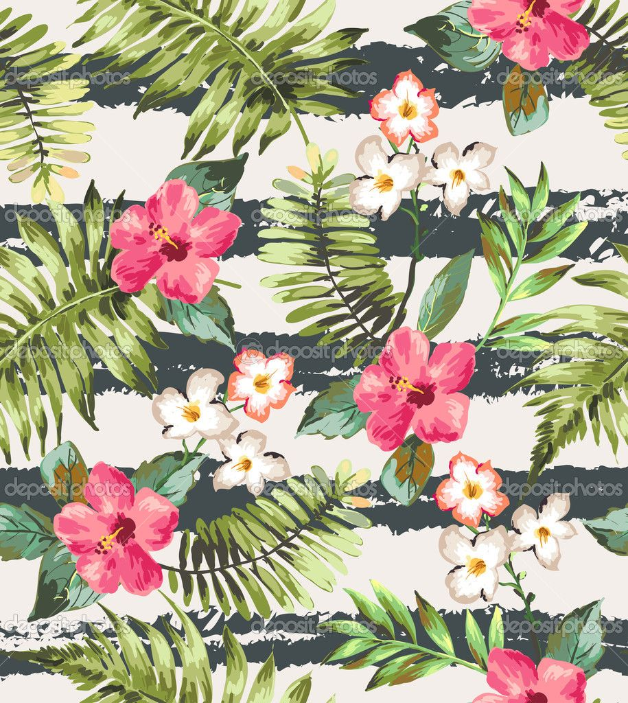 Seamless Tropical Flowers With Brush Stripe Vector Pattern