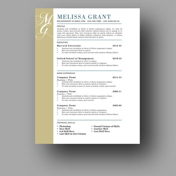 One Page Resume Template Modern And Elegant Resume Cover
