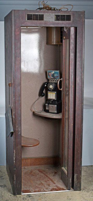 84 Original Oak Telephone Booth W Payphone Lot 241h