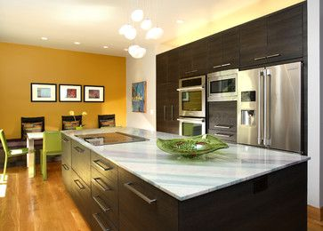 contemporary fun kitchen with mustard wall kitchen remodel inspiration accent wall in kitchen on kitchen remodel yellow walls id=54716