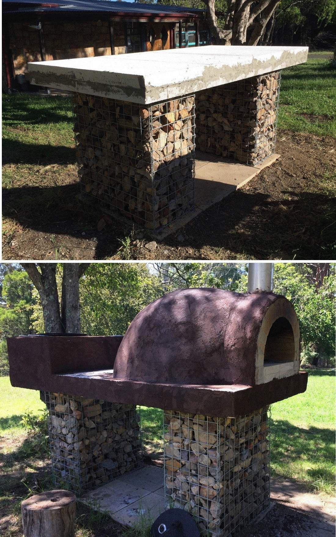 gabion base and pizza oven Outdoor pergola, Pizza oven
