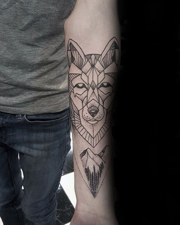Mountains With Forest Male Geometric Wolf Inner Forearm Tattoos