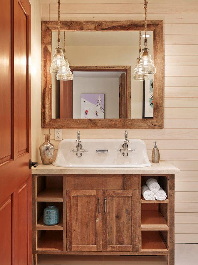 Adesivo De Chão Que Imita Madeira ~ iluminaç u00e3o banheiro rústico banheiro Pinterest Iluminaç u00e3o banheiro, Banheiros rústicos e