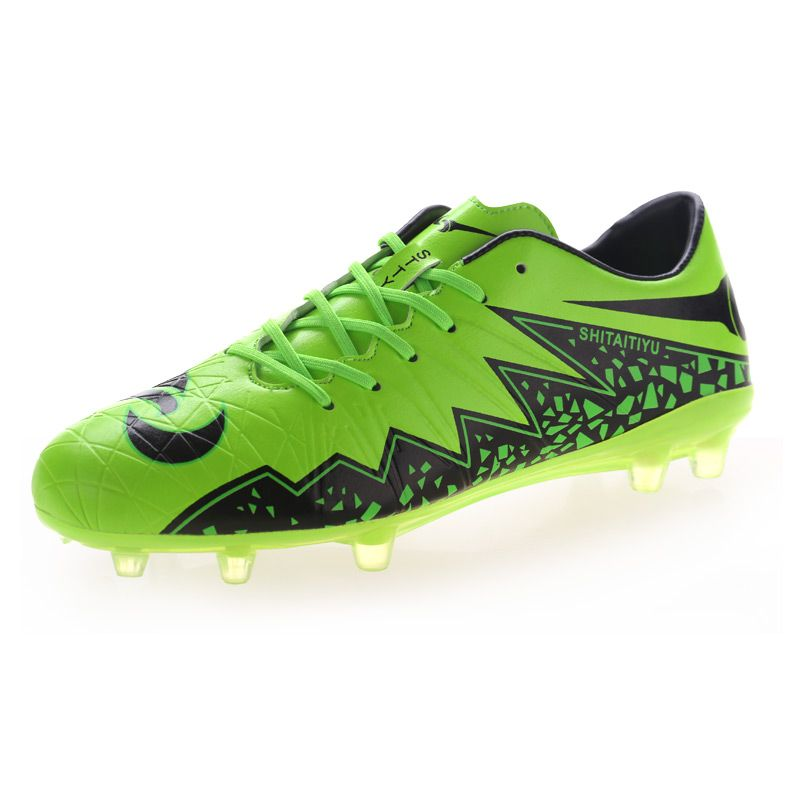 2016 Soccer Shoes Man Football Boots Kid Boy Football Shoes Leather Soccer  Training Sneakers Long Spikes