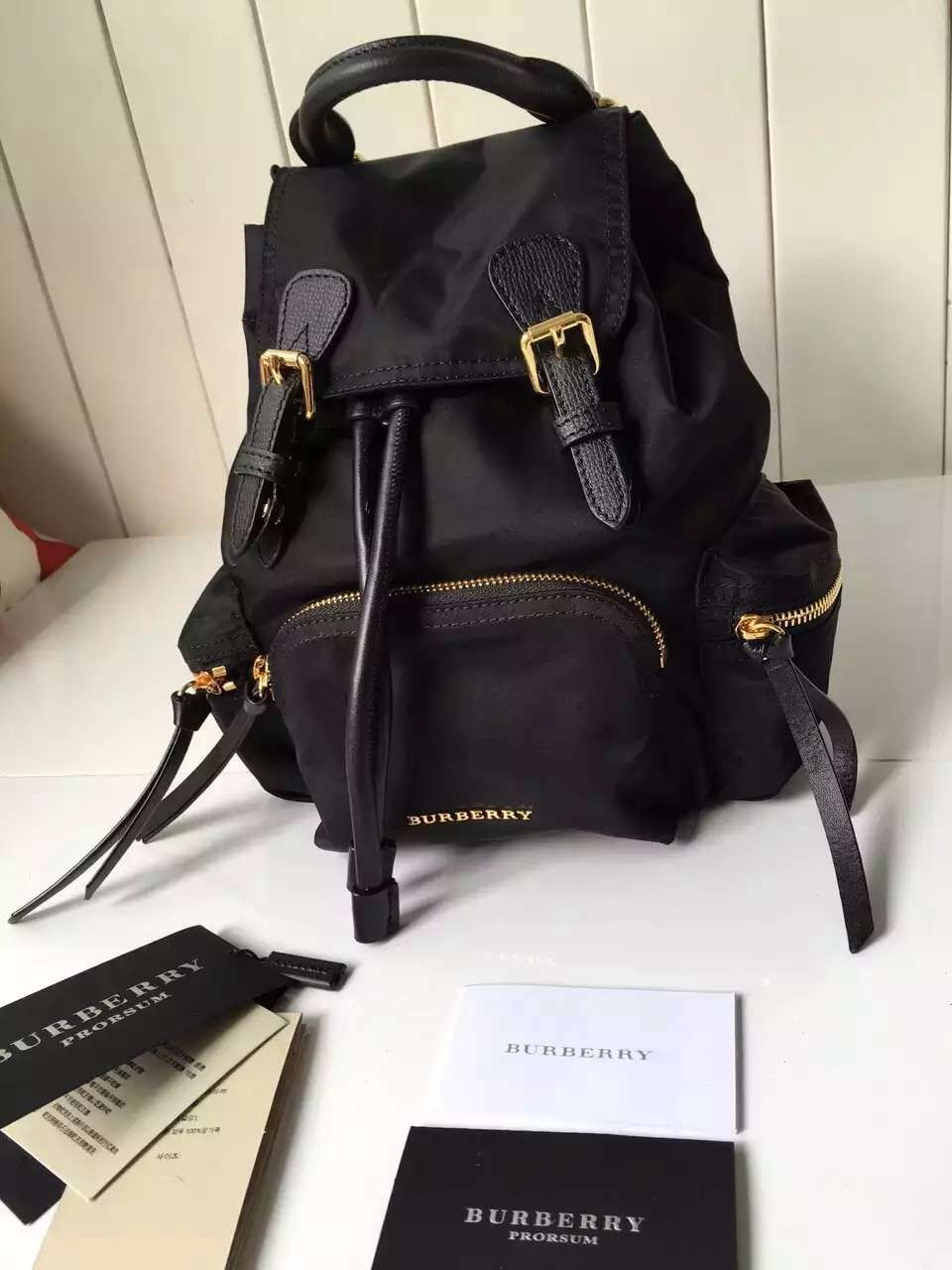 54631bdd45820 Burberry Small Rucksack In Technical Nylon And Leather Backpack Black