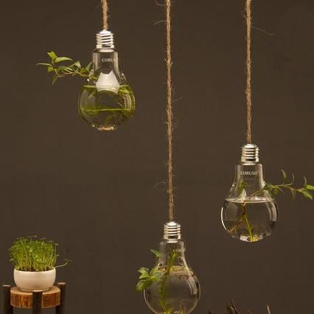 Glass Bulb Lamp Shape Flower Water Plant Hanging Vase Hydroponic Container Pot Us 4 29 Hanging Light Bulbs Light Bulb Plant Hanging Glass Vase