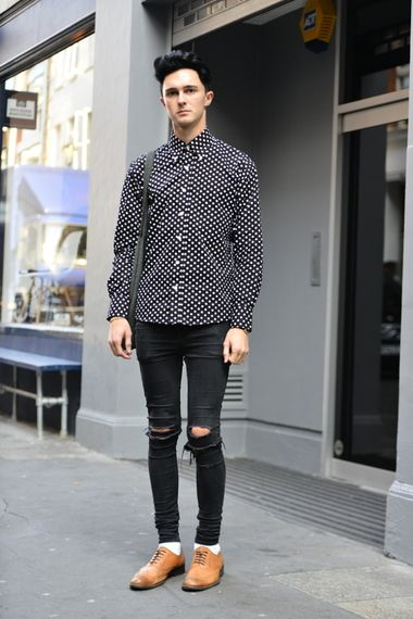 b2f37f3a401 A casual look of ripped denim jeans, polka dot shirt and brogues ...