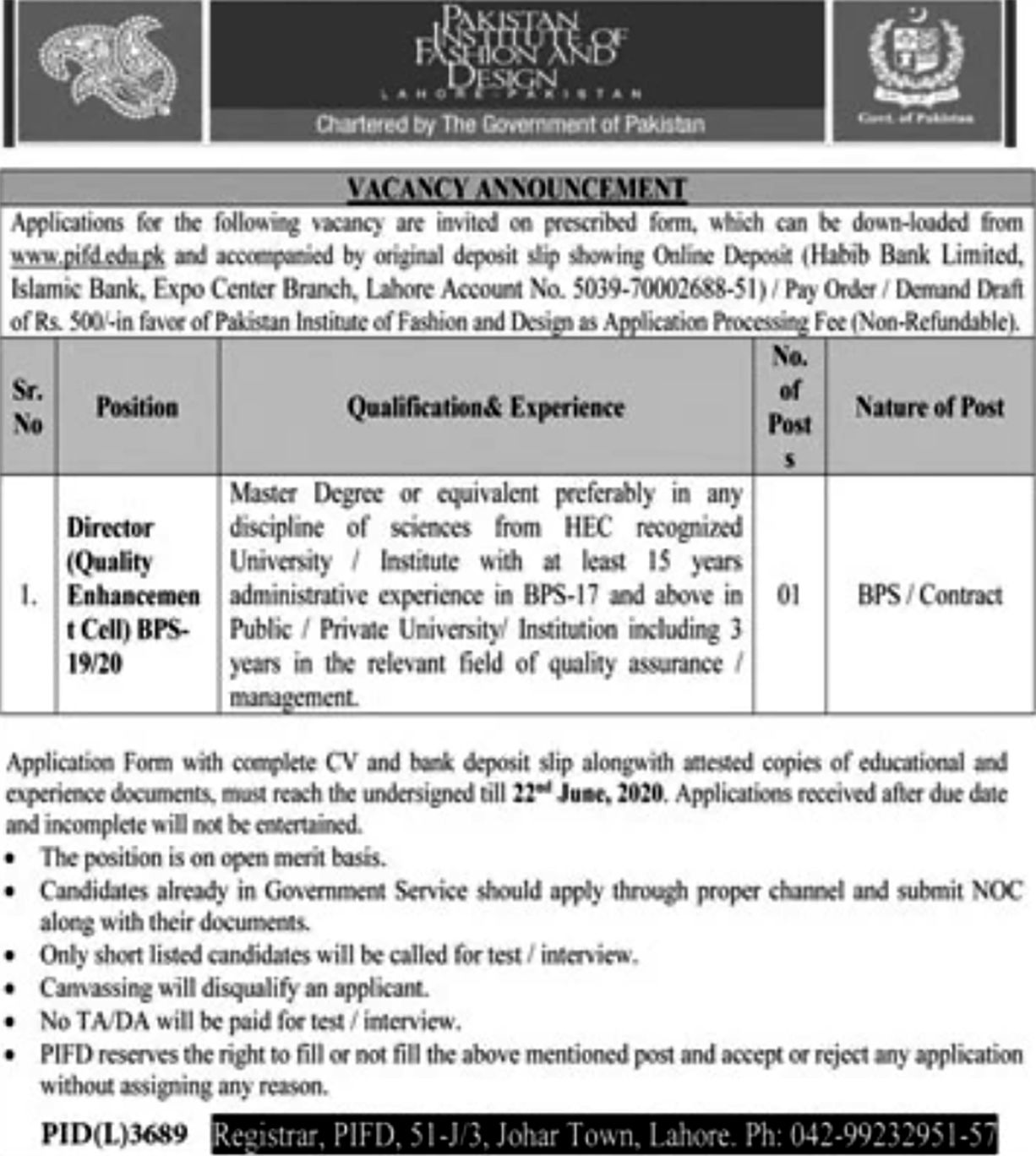 Jobs Pakistan Institute Of Fashion Design