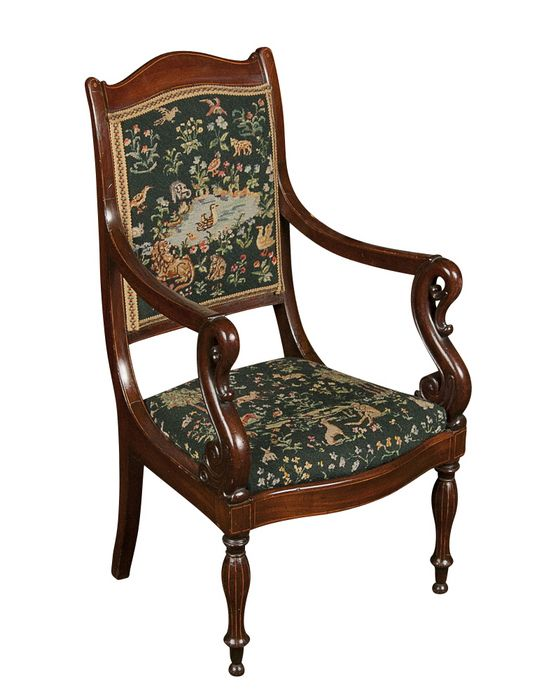 A Charles X Inlaid Mahogany Childu0027s Armchair Or Fauteuil. CIRCA: 1820  DIMENSIONS: 32