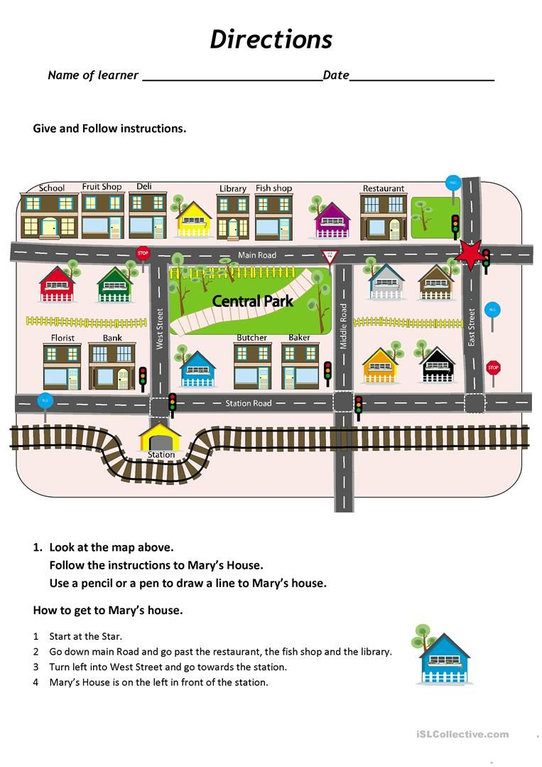 Give and follow directions on a map worksheet - Free ESL printable ...