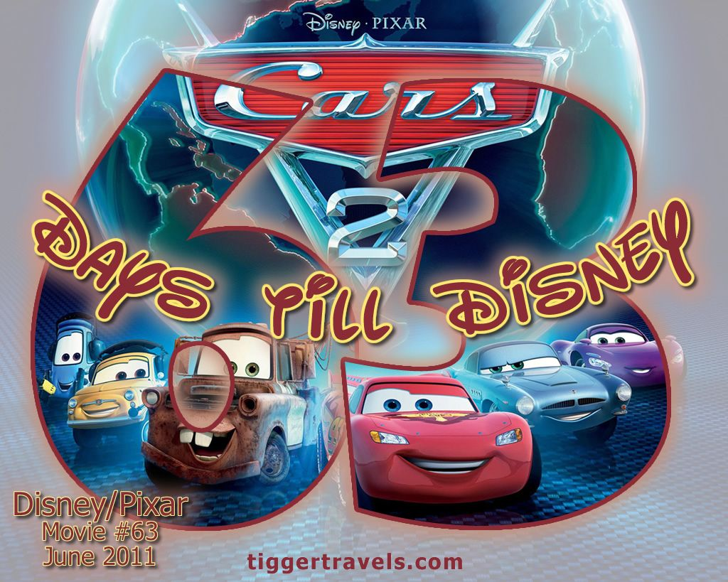 Days till Disney: 63 days Cars 2 Movie # 63 - June 2011 -  #TTDAVCDN Count down to YOUR next Disney vacation at: http://www.tiggertravels.com/pl_1057_Disney%20and%20Pixar%20themed%20Vacation%20Countdown%20numbers.htm  #disneycountdown #vacationcountdown  #Disney #vacation #TiggerTravels #TiggerTravelsSite #TiggerTravelsDotCom  #TiggersTravels