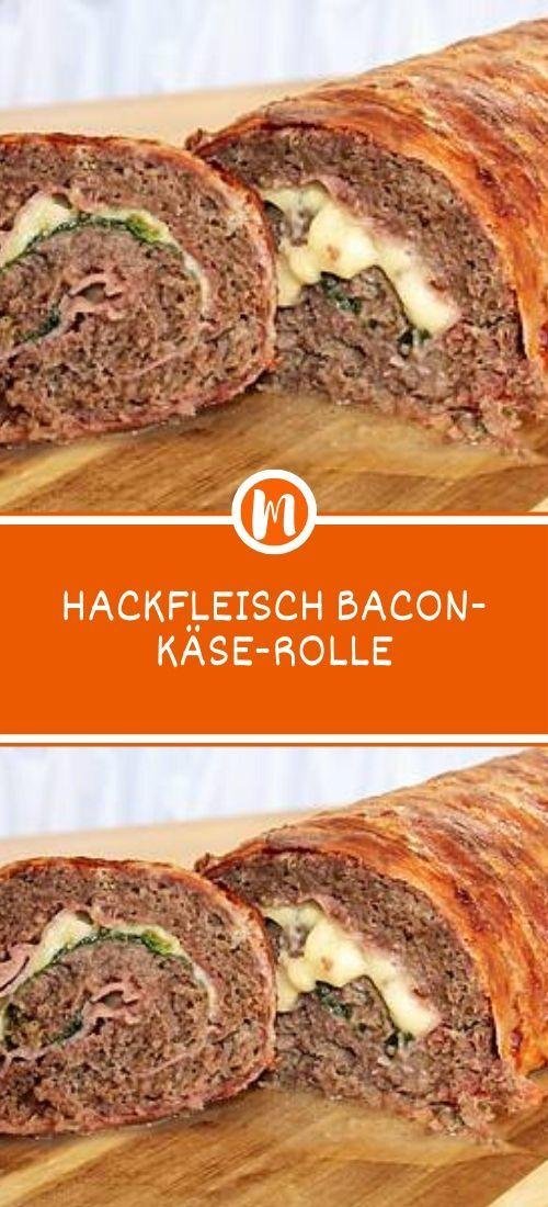 HACKFLEISCH BACON-KÄSE-ROLLE  #schnellerezeptemittagessen