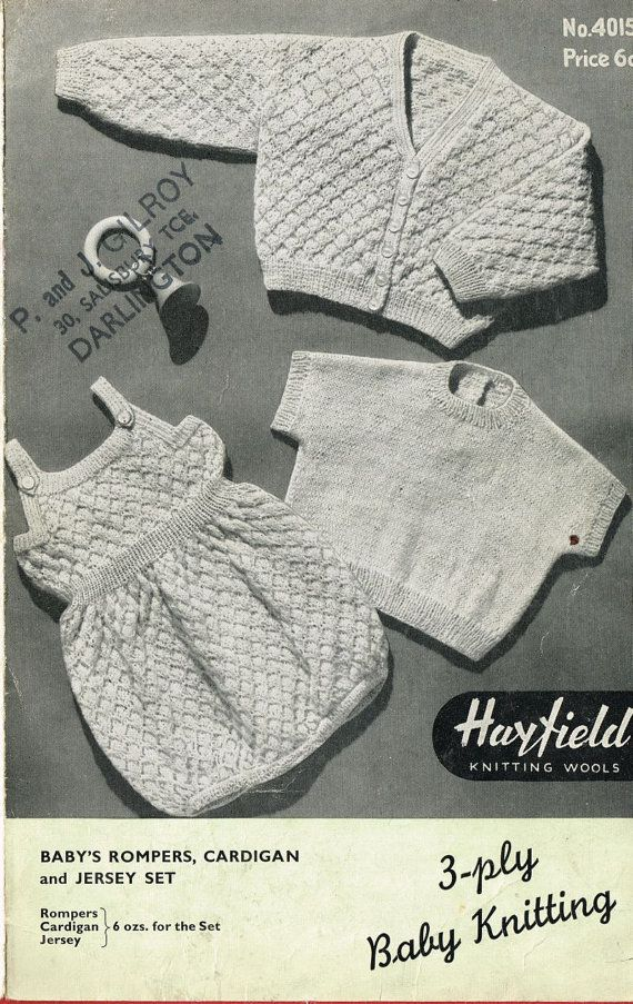 Baby Cardigan And Romper Suit Vintage Knitting Pattern Pdf