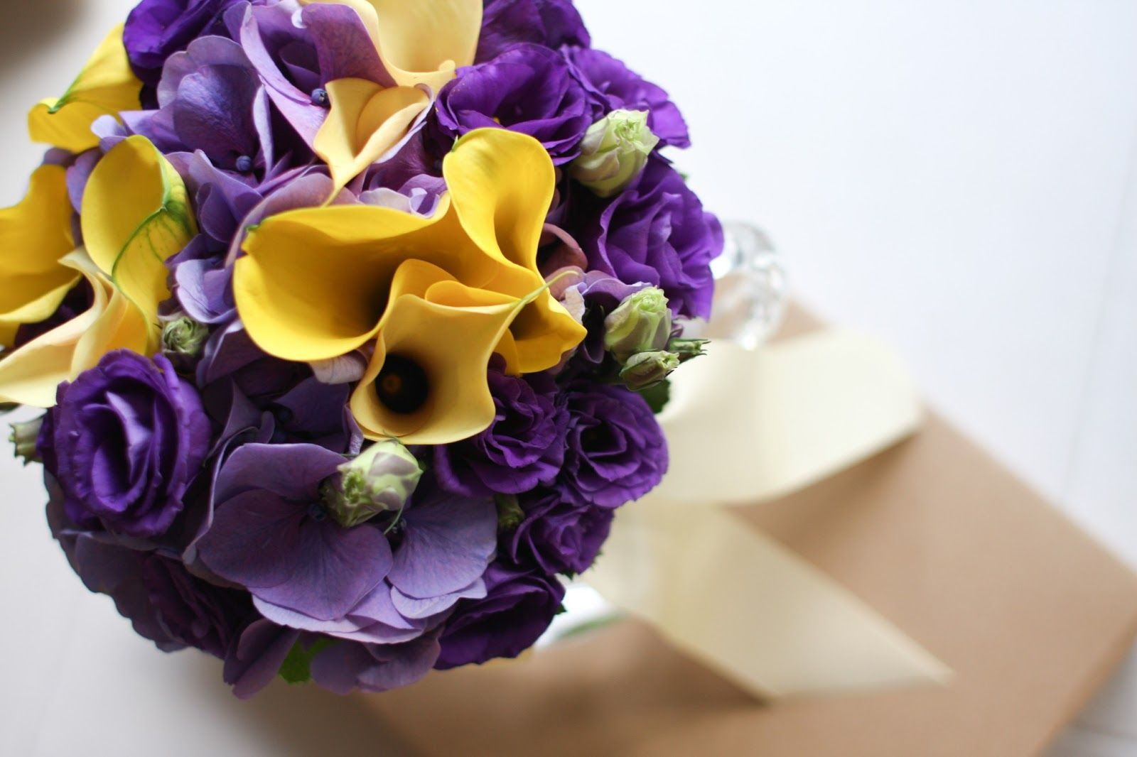 Purple And Yellow Wedding Flowers Bouquet Wallpaper