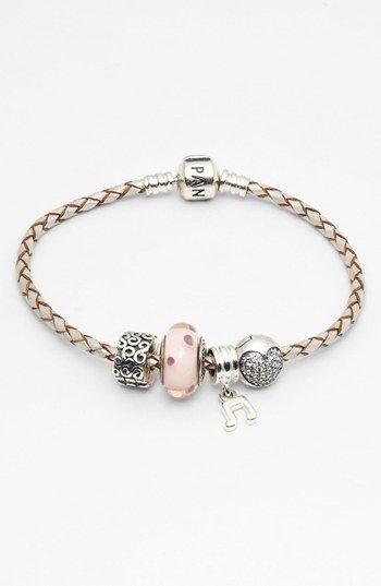 Pandora Woven Leather Charm Bracelet Nordstrom