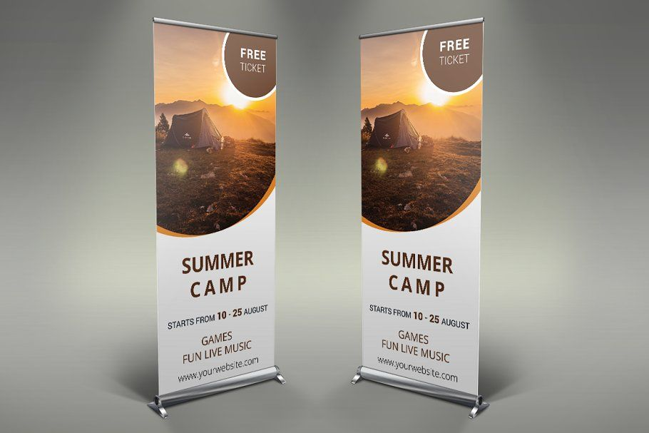 Camping Roll Up Banner Sponsored Ad Psd Photoshop Size Information In 2020 Banner Design Camp Rollup Banner Design