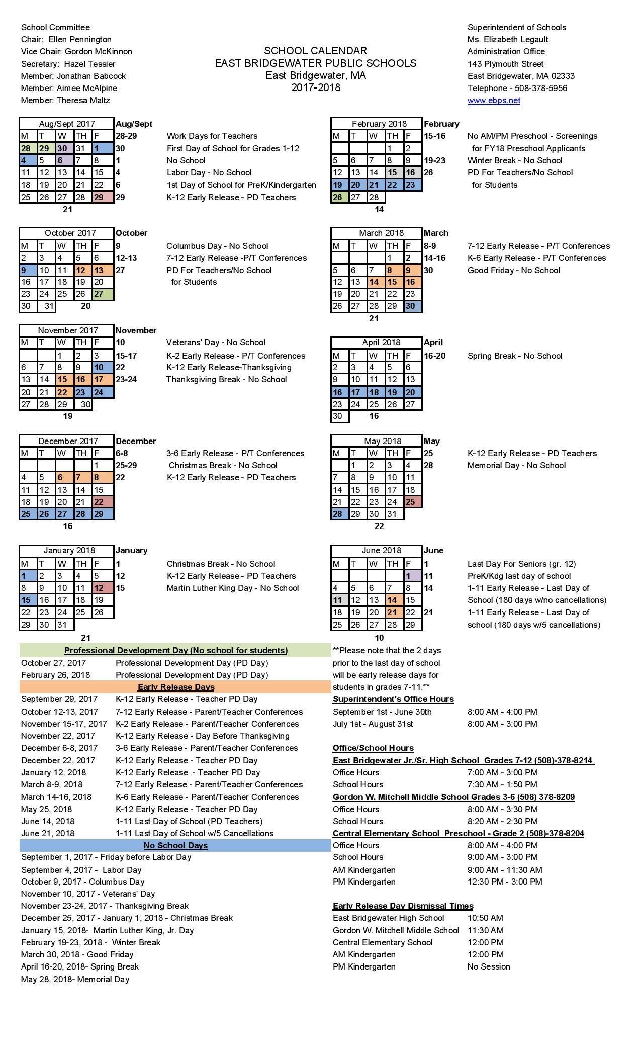 2017  2018 School Calendar   East Bridgewater Public Schools