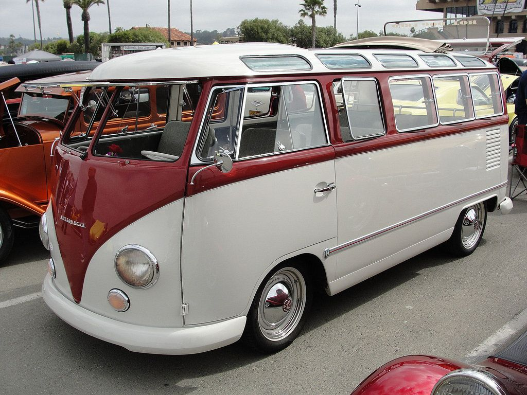 Two tone 23 window safari bus without the vw emblem in front