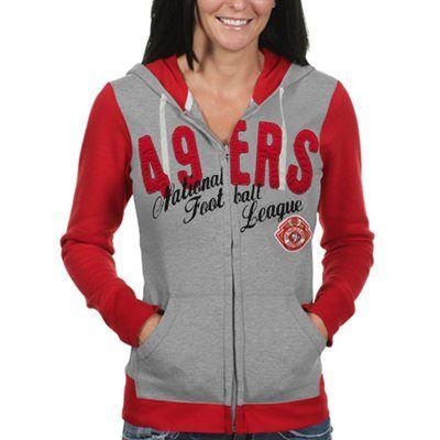 San Francisco 49ers Ladies Nickel Coverage Full Zip Hoodie - Gray/Scarlet#FANACTICS