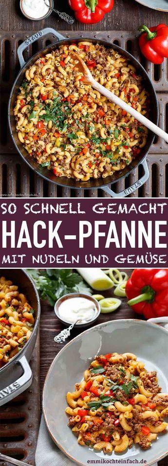 Schnelle Hackpfanne mit Hörnchennudeln und Gemüse #chickenalfredo
