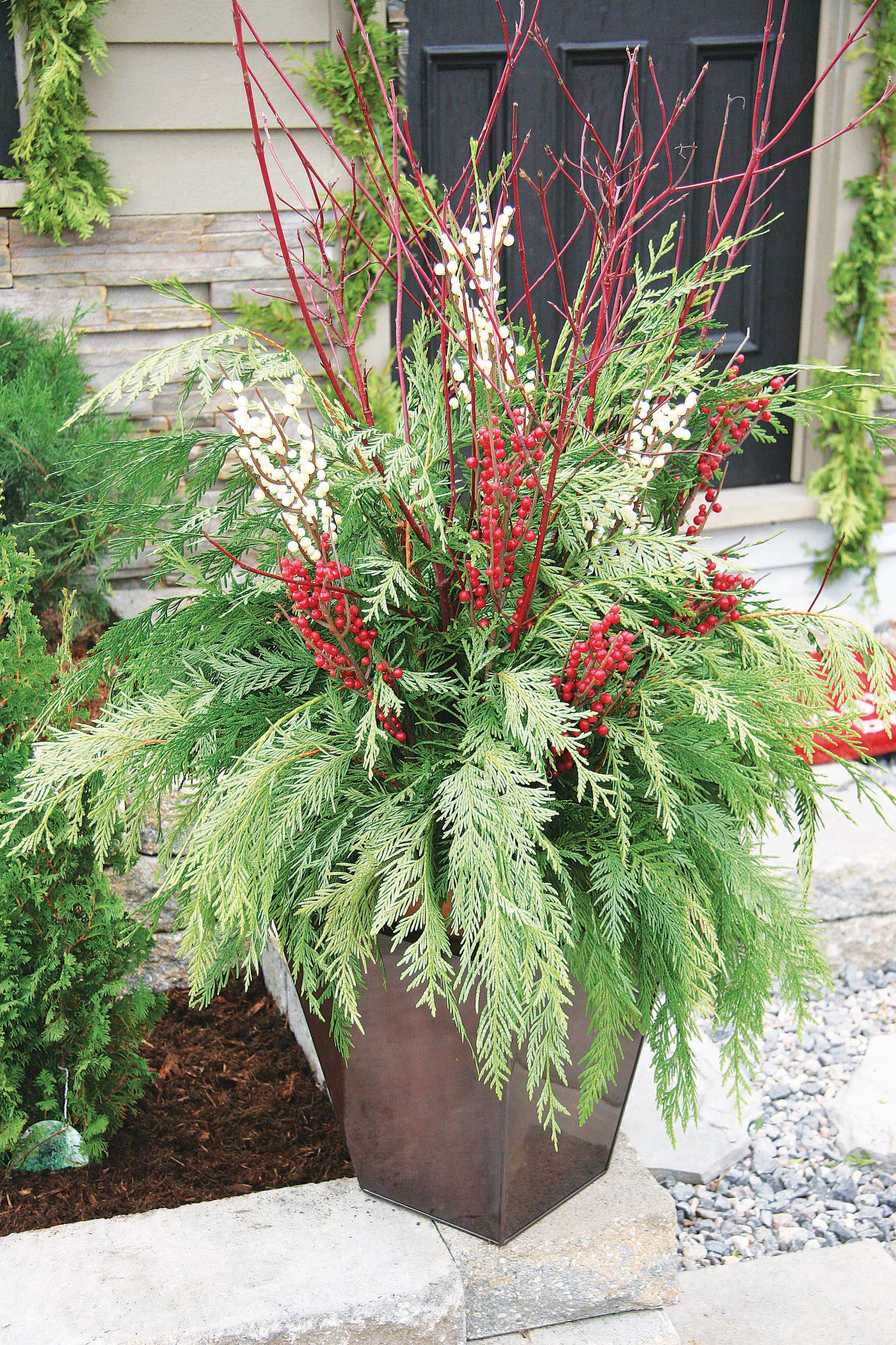 outdoor christmas planter - Outdoor Christmas Planter Decorating Ideas