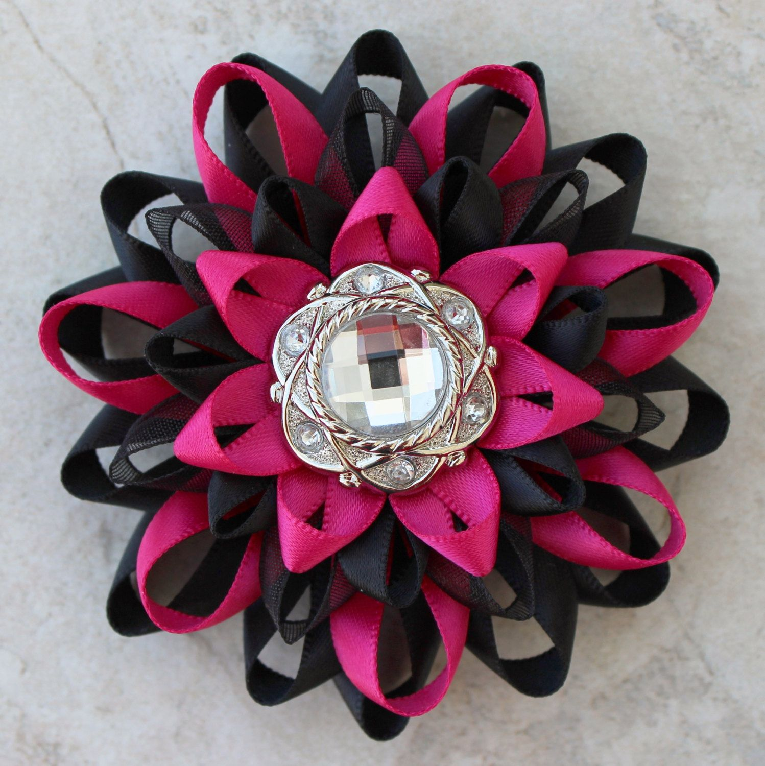 Flower Corsage Pin Hot Pink And Black Corsage Flower Black And Hot