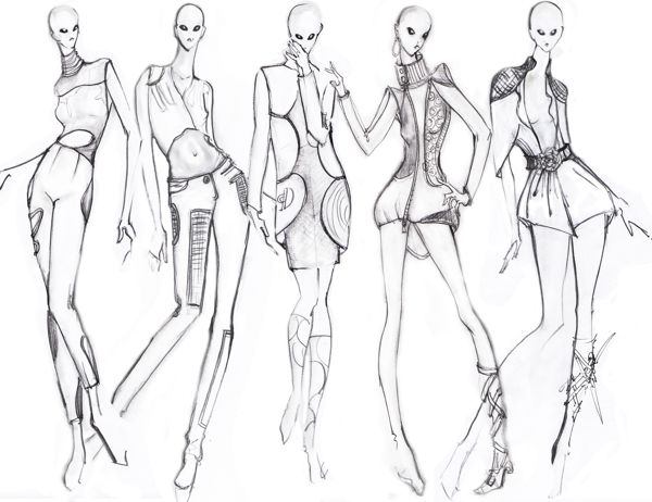 fashion croquis collection, fashion group pose | Illustration ...