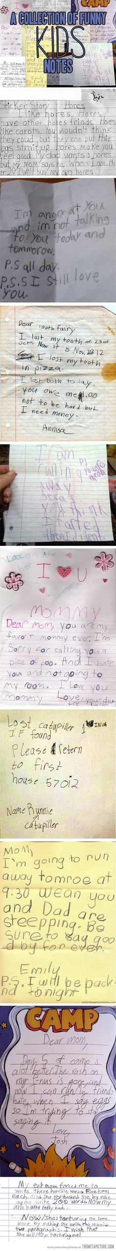 A collection of funny kids' notes…