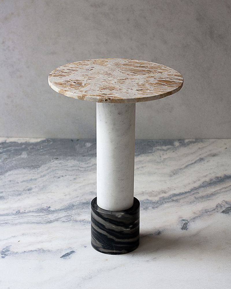 Studio Raw Material Side Table Terra Edition Limitee De 12 Yellow Pyro White Mist And Black Molten Marbles D 38 X H 585 Cm Available In Stock