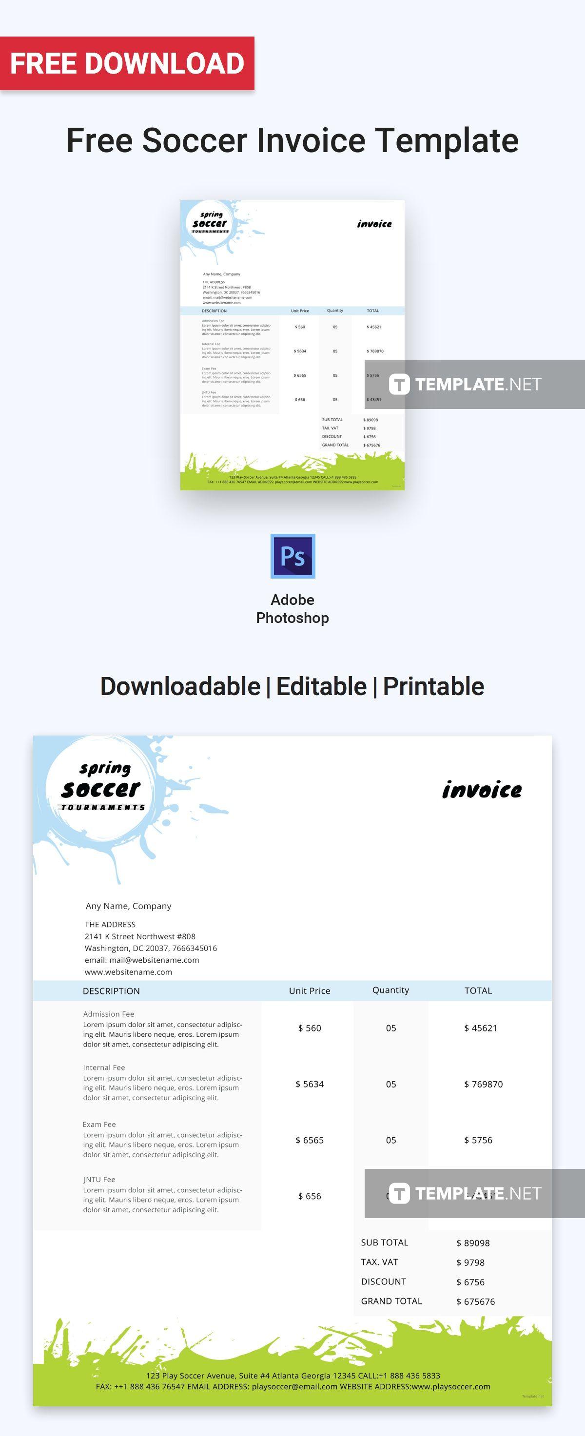 Free Soccer Invoice Invoice template, Invoice design