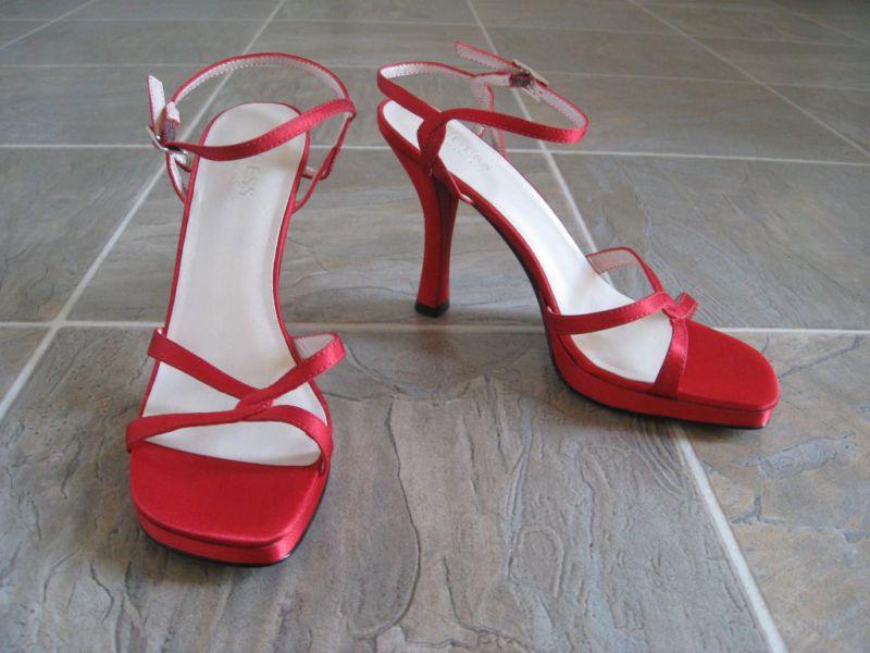 45fac30eb1b Guess Red Satin Platform Strappy Sandals Heels 7.5M