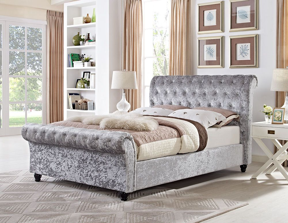 Chesterfield 5 X 6 6 King Sleigh Designer Bed In Silver Crushed Velvet Velvet Bed Frame Crushed Velvet Bed Bed Furniture